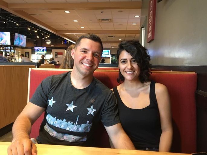 Kyle LaVallee and Natalie Johnson at one of their favorite hangouts in Fayetteville, where they've decided to put down roots