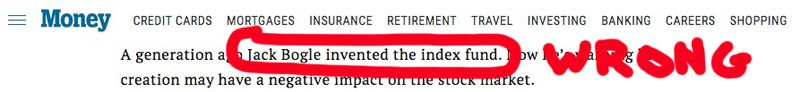 John Bogle did not invent index funds